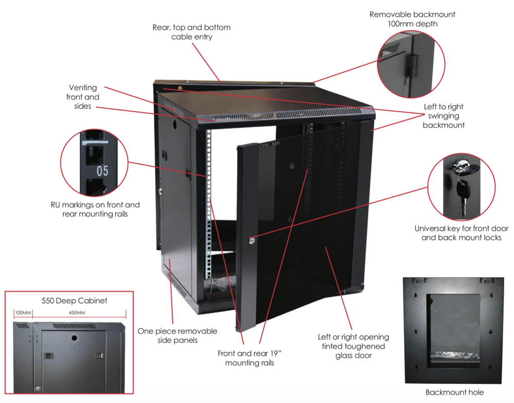 Dynamix Network Cabinet Hinged - Lite
